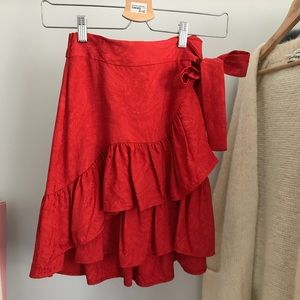 NEW Maje Red Short Wrap Skirt Size 34 (xs)